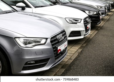 Nurnberg, Germany - September 10, 2017: Close up view of Audi cars in raw at an Audi Dealer