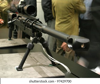NURNBERG - MARCH 11: Sig Sauer SAN 511 sniper rifle on display at IWA 2012 & OutdoorClassics exhibition on March 11, 2012 in Nurnberg, Germany