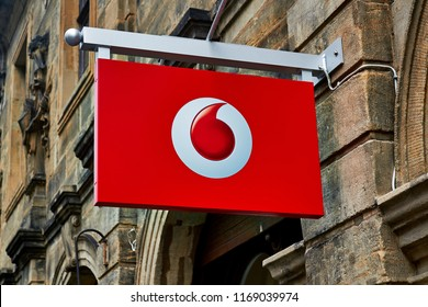 NURNBERG,GERMANY - AUGUST 13, 2016: Logo of Vodafone - Vodafone is a British multinational telecommunications company and It is the one of the world's largest mobile telecommunications company.