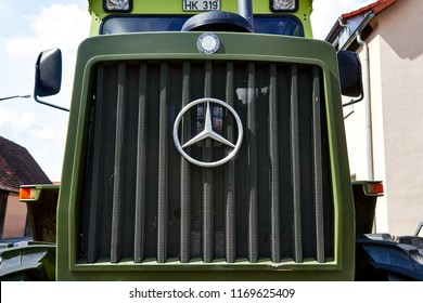 NURNBERG,GERMANY - AUGUST 13, 2016: Old Tractor Mercedes-Benz MB-Trac 700 K, 1987.Mercedes-Benz is a German automobile manufacturer.