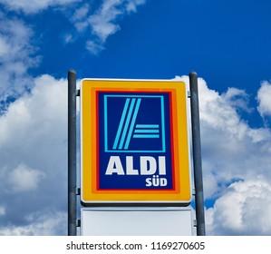 NURNBERG,GERMANY - AUGUST 13, 2016:ALDI (south) supermarket chain sign. ALDI (south) is a German global discount supermarket chain, based in Muelheim an der Ruhr