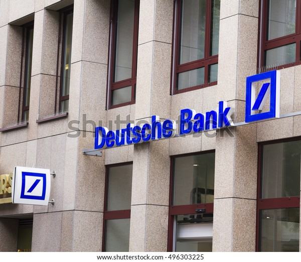 NURNBERG,GERMANY- JULY 5 2016: DEUTSCHE Bank logo on July 5,2016 in Nurnberg, Germany.Deutsche Bank AG is a German global banking and financial services company with its headquarters in Frankfurt.