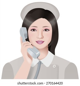 The nurse calls. Illustration./ White uniform.