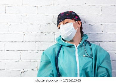 Nurse or doctor upset sad , Tired Doctor Coronavirus medical professional tired with exhaustion working on corona virus pandemic help healthcare work.
