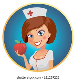 A nurse is eating a red apple on a bright background