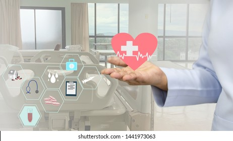 Nurse hands support touch panels showing medical devices,tools and digital medicines on the hospital laboratory background.