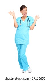 Nurse happy excited and joyful. Young woman nurse or doctor cheerful and joyful isolated in full length on white background.