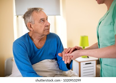 Nurse holding patient hand and comfort, care of the elderly people