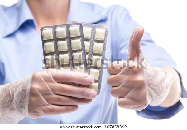 Nurse Holding Stop Smoking Gum Stock Photo (Edit Now) 107858369