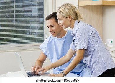 Nurse and patient in hospital ward