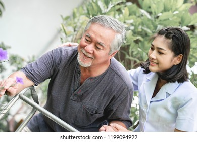 Nurse with patient using walker in retirement home. Young female nurse holding old man's hand in outdoor garden walking. Senior care, care taker and senior retirement home service concept.