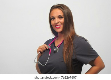 nurse portrait women working hospital medical pink stethoscope gray uniform