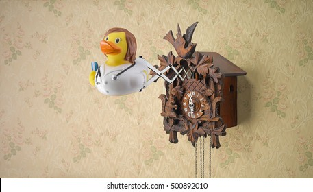 Nurse rubber duck coming out of cuckoo clock on flowery wallpaper
