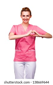 nurse showing heart sign on white background