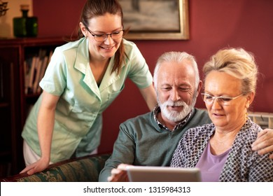 Nurse spending time with the occupants of the retirement home, system of professional care
