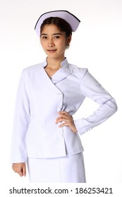 Nurse standing in nurse concept Isolate on white background