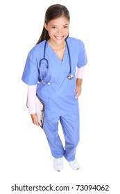 Nurse standing isolated on white in full body. Young asian woman medical professional - doctor or nurse.