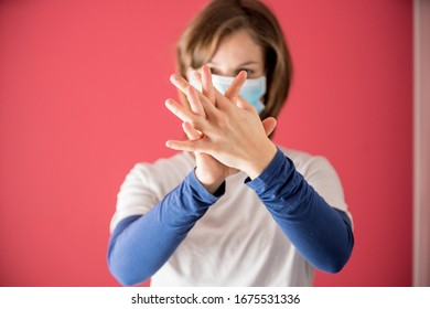 nurse with surgical mask shows how to properly wash your hands with gel or soap to prevent coronavirus infections and avoid the spread of the world pandemic started in china