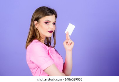 nurse in white uniform hold business card. sexy woman doctor. health care and medical concept. Doctor and patient. Health care. healthy lifestyle. here is my business card. Doctor pointing copy space.
