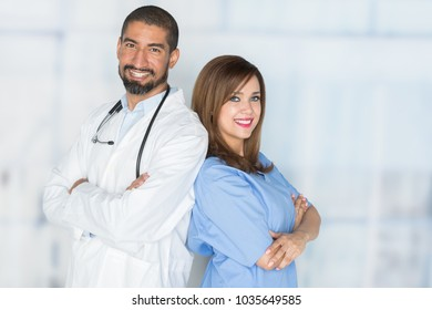 Nurse who is working her shift in the hospital with a doctor
