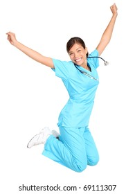 Nurse woman excited, happy and jumping. Female nurse or young medical professional / student jumping of joy. Isolated on white background.
