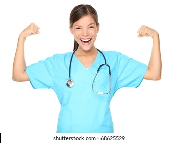 2ccc7eeb65a Nurse woman showing arm muscles smiling. Funny photo of successful young  female nurse in blue