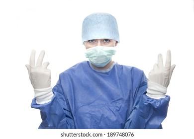 nurse woman with white gloves on white background