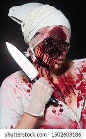 Nurse zombie. Halloween make-up. Zombie Apocalypse.