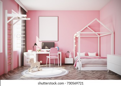 Nursery with pink walls, a wooden floor, a double bed with a house like roof, a computer desk and a ladder. A framed poster and toys. 3d rendering mock up