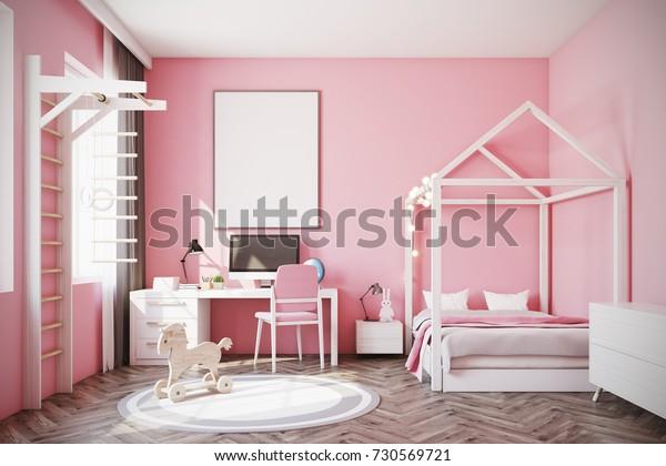 Nursery Pink Walls Wooden Floor Double Stock Photo (Edit Now ...