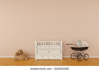 Nursery room with crib and toys 3d rendering