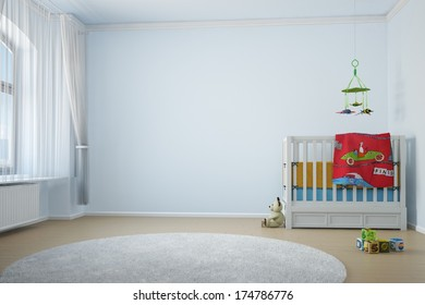 Nursery room with crib toys and window with curtain