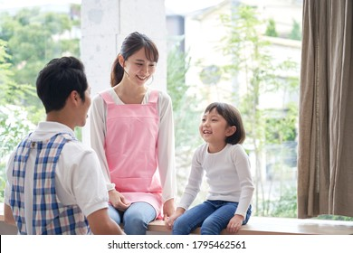 nursery school teacher with the girl