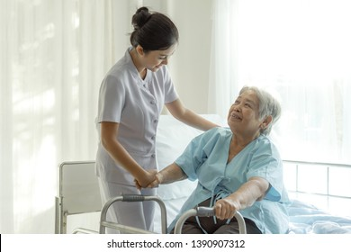 the nurses are well good taken care of elderly patients in hospital bed patients  feel happyness - medical and healthcare concept