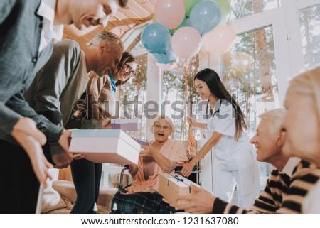 Nursing Home Madly Happy Retiree Wheelchair Stock Photo Edit Now