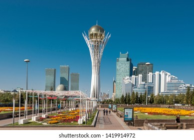 Nur-Sultan (Astana)/ Kazakhstan - 09.13.2017: City centre of Nur-Sultan (formerly Astana) with Bayterek tower