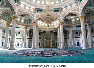 Nur-Sultan (Astana), Kazakhstan , December 2020,  Nur-Sultan, the capital of KazakhstanHazret Sultan Mosque. Interior with the famous carpet