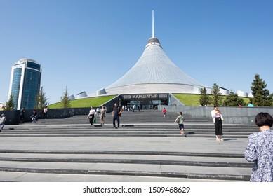 Nursultan (Astana), Kazakhstan, July 2019, hanshatyr, shopping and entertainment center, people go shopping, largest tent