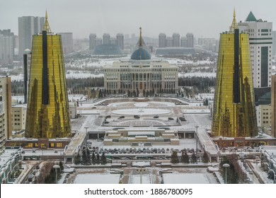 Nur-Sultan, Kazahkstan , December 2020,  Ak Orda Presidential Palace and Golden Towers in Nur-Sultan, the capital of Kazakhstan during winter - aerial view