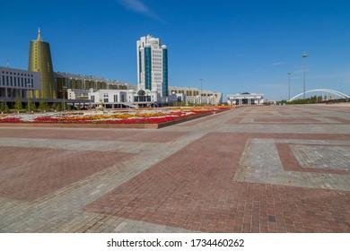 Nur-Sultan, Kazakhstan - April 24, 2019 - Modern office buildings at the Nurzhol boulevard, Nur-Sultan, Astana; Kazakhstan