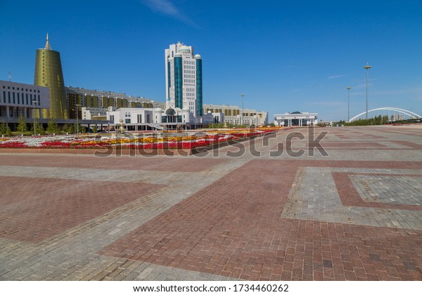 Nur-Sultan, Kazakhstan - April 24, 2019 - Modern office buildings at the Nurzhol boulevard, Nur-Sultan, Astana; Kazakhstan