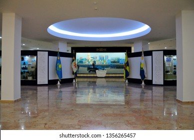 Nur-Sultan, Kazakhstan - March 24, 2019 - Interior of the Kazakhstan Military History Museum (or Museum of Armed Forces) in Nur-Sultan (Astana)
