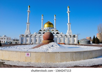 Nur-Sultan, Kazakhstan - March 24, 2019 - The Nur-Astana Mosque in Nur-Sultan (Astana)