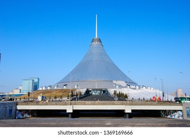 Nur-Sultan, Kazakhstan - March 24, 2019 - Khan Shatyr Entertainment Center in Astana (Nur-Sultan) in winter