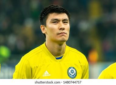 Nur-Sultan, Kazakhstan – March 24, 2019. Kazakhstan national football team midfielder Abzal Beisebekov before UEFA Euro 2020 qualification match Kazakhstan vs Russia (0-4) in Nur-Sultan.