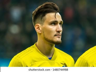 Nur-Sultan, Kazakhstan – March 24, 2019. Kazakhstan national football team striker Yuriy Pertsukh before UEFA Euro 2020 qualification match Kazakhstan vs Russia (0-4) in Nur-Sultan.