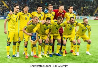 Nur-Sultan, Kazakhstan – March 24, 2019. Team photo of Kazakhstan national football team ahead of UEFA Euro 2020 qualification match Kazakhstan vs Russia (0-4) in Nur-Sultan.