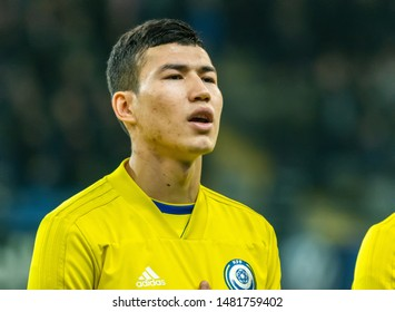 Nur-Sultan, Kazakhstan – March 24, 2019. Kazakhstan national football team midfielder Baktiyar Zaynutdinov before UEFA Euro 2020 qualification match Kazakhstan vs Russia (0-4) in Nur-Sultan.