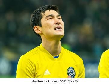 Nur-Sultan, Kazakhstan – March 24, 2019. Kazakhstan national football team defender Yeldos Akhmetov before UEFA Euro 2020 qualification match Kazakhstan vs Russia (0-4) in Nur-Sultan.
