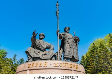 NUR-SULTAN, KAZAKHSTAN - MAY 2019: Astana Kerey and Zhanibek Holding a Spear Statue Low Angle View on a Sunny Blue Sky Day